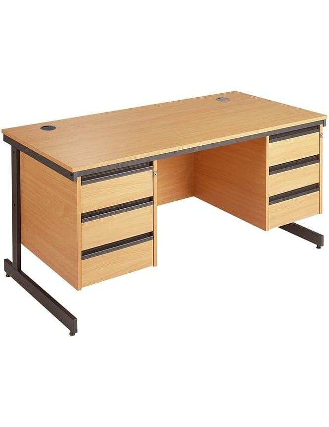 Dams Value Cantilever Desk with 2 x 3 Drawer Pedestals