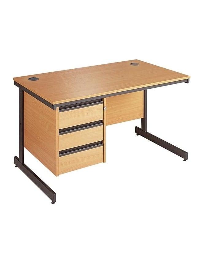 Dams Value Cantilever Desk with 3 Drawer Pedestal