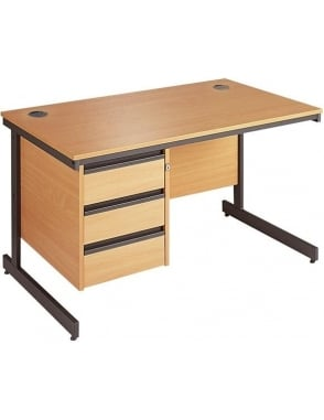 Value Cantilever Desk with 3 Drawer Pedestal