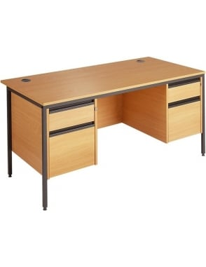 Value Desk with 2 & 2 Drawer Pedestals