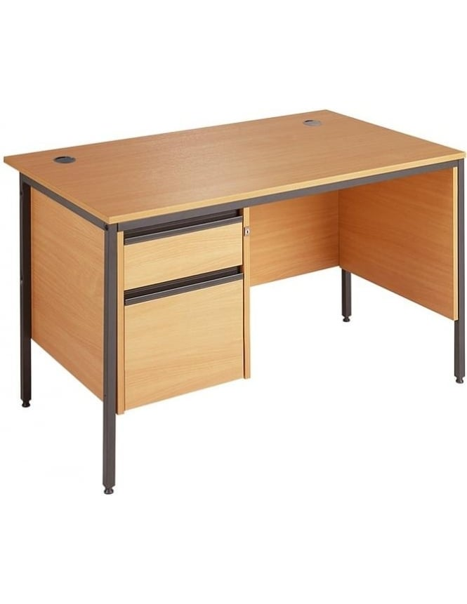 Dams Value Desk with 2 Drawer Pedestal & Modesty Panels
