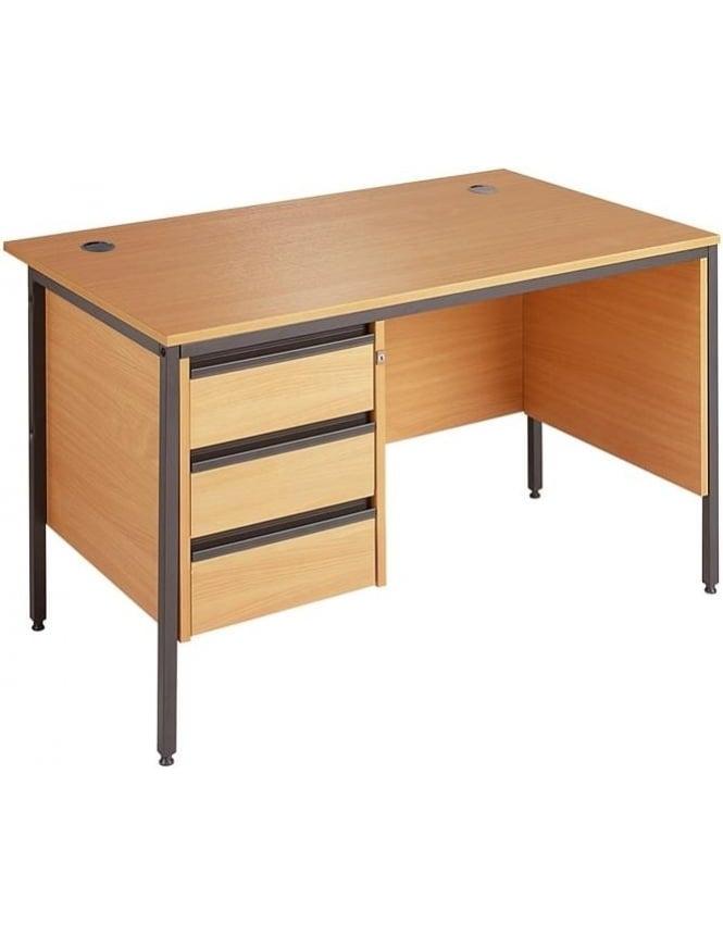 Dams Value Desk with 3 Drawer Pedestal & Modesty Panels