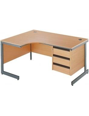Value Left Hand Ergonomic Desk with 3 Drawer Pedestal