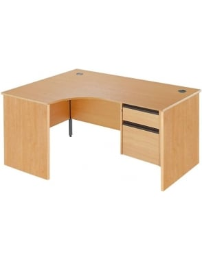 Value Left Hand Ergonomic Panel Desk with 2 Drawer Pedestal