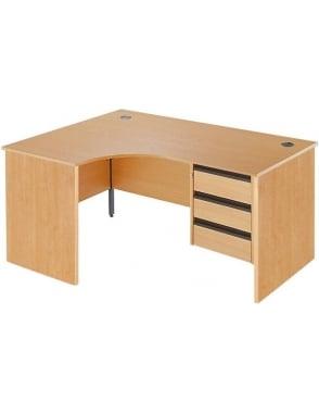 Value Left Hand Ergonomic Panel Desk with 3 Drawer Pedestal