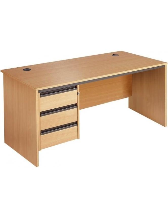 Dams Value Panel Desk with 3 Drawer Pedestal