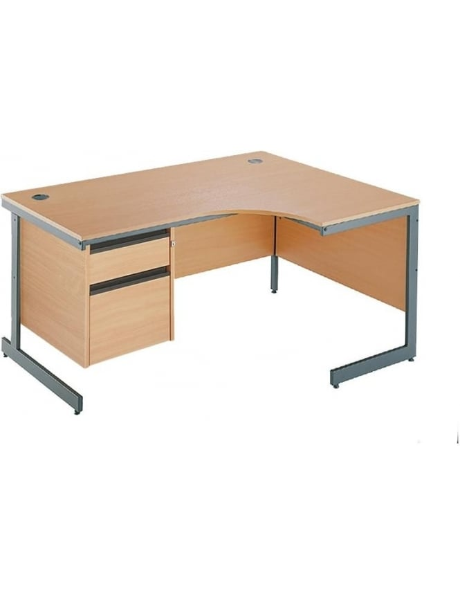 Dams Value Right Hand Ergonomic Desk with 2 Drawer Pedestal