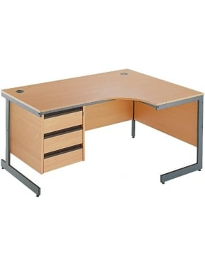 Value Right Hand Ergonomic Desk with 3 Drawer Pedestal