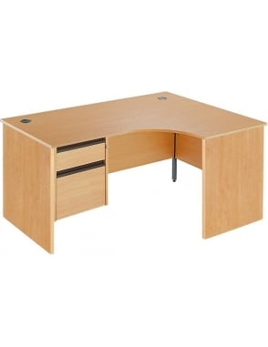 Value Right Hand Ergonomic Panel Desk with 2 Drawer Pedestal