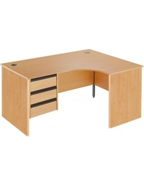 Value Right Hand Ergonomic Panel Desk with 3 Drawer Pedestal