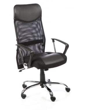 Vegas Executive Black Leather Mesh Chair