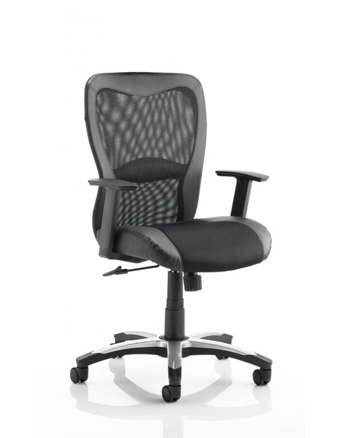Dynamic Furniture Victor Executive Black Leather Mesh Chair