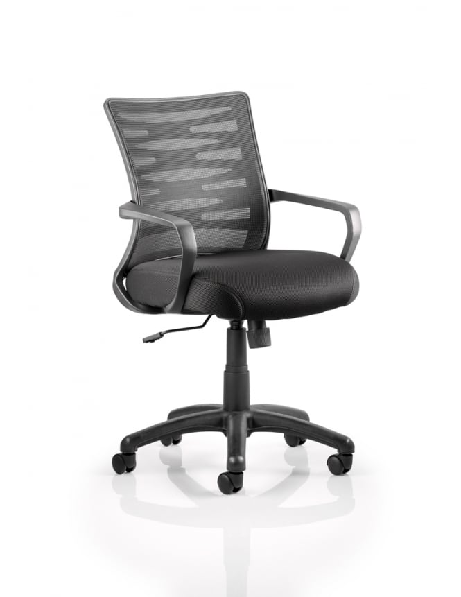 Dynamic Furniture Vortex Task Operator Chair Black Mesh Back With Arms